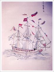 (1)1800年当時のロシア船の絵(北夷談付図)